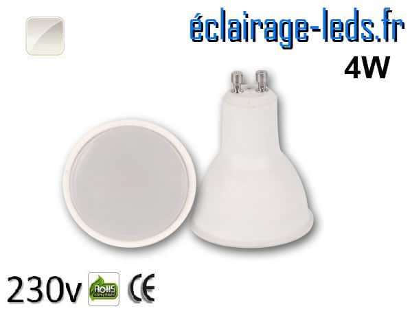 Ampoule LED GU10 translucide 4w blanc naturel 230v