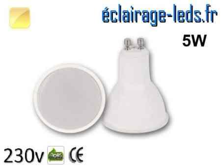 Ampoule LED GU10 translucide 5w blanc chaud 230v