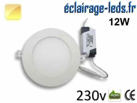 Spot LED 12W ultra plat SMD2835 blanc chaud perçage 155mm 230v