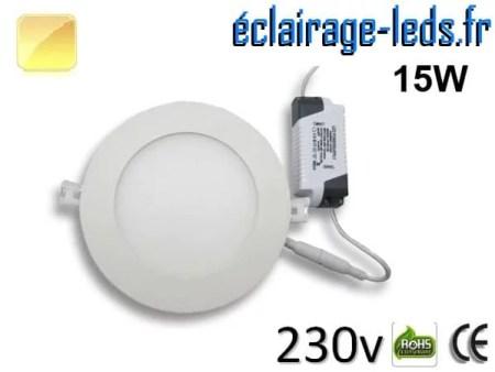 Spot LED 15W ultra plat SMD2835 blanc chaud perçage 175mm 230v