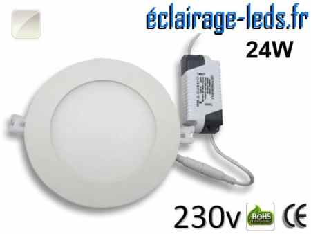 Spot LED 24W ultra plat SMD2835 blanc naturel perçage 280mm 230v