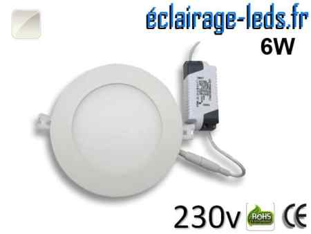 Spot LED 6W ultra plat SMD2835 blanc naturel perçage 105mm 230v