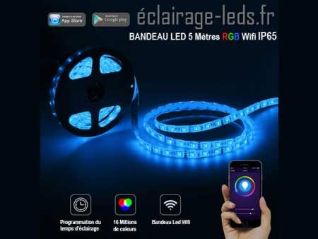 Bandeau LED Wifi 5m RGB IP65 12v