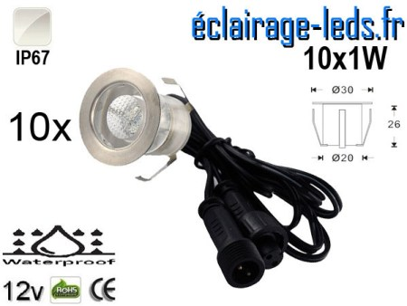 Kit 10 spots LED encastrables Mur et Sol 10w blanc 12v