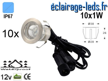 Kit 10 spots LED encastrables Mur et Sol 10w bleu 12v