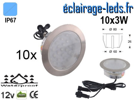 Kit 10 spots LED encastrables Mur et Sol 30w bleu 12v