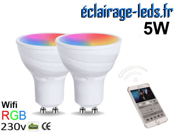 Kit 2 ampoules Leds GU10 RGB 5W Wifi 230v