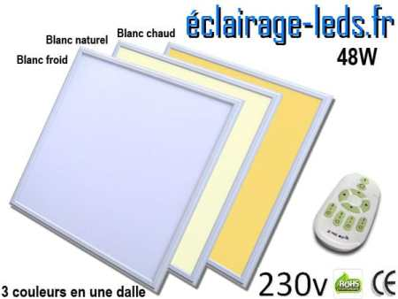 Dalle LED 48W 3 Couleurs 600x600 230v