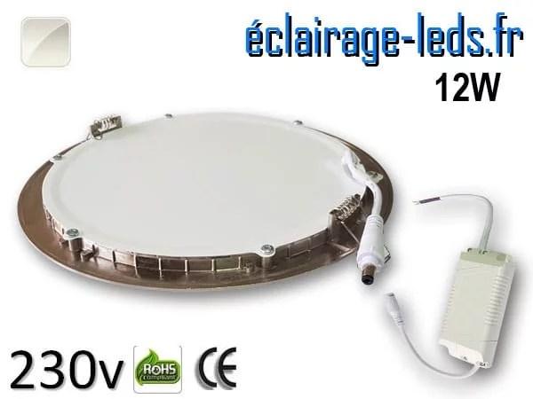 spot led chrome 12W ultra plat SMD2835 blanc naturel perçage 155mm
