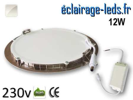 spot led chrome 12W ultra plat SMD2835 blanc naturel perçage 155mm