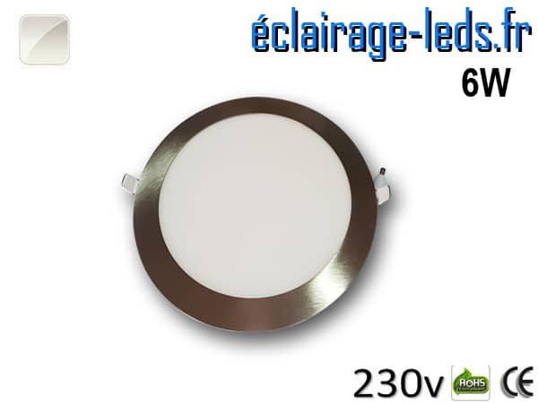 spot led chrome 6W ultra plat SMD2835 blanc naturel perçage 105mm 230v
