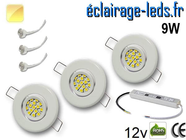 Kit Spot MR11 orientable blanc 12 LED blanc chaud perçage 53mm 12V