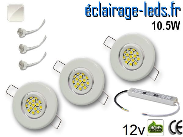Kit Spot MR11 orientable blanc 15 LED blanc naturel perçage 53mm 12V
