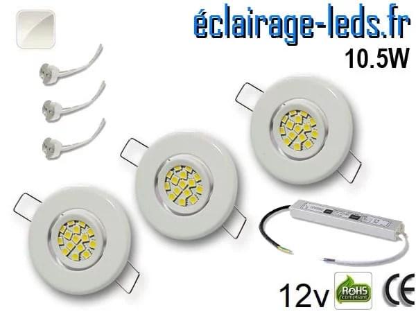Kit Spot MR11 orientable blanc 15 LED blanc naturel perçage 53mm 12V