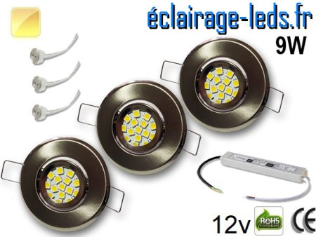 Kit Spot MR11 orientable chrome 12 LED blanc chaud 12V