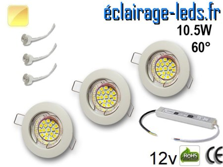 Kit Spot MR16 fixe blanc 18 LED blanc chaud 60° perçage 60mm 12V