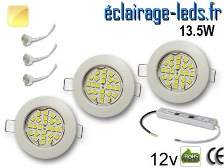 Kit Spot MR16 fixe blanc 21 LED Blanc chaud 12V