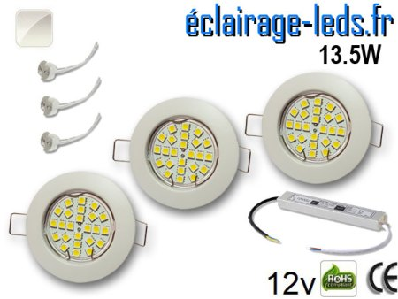 Kit Spot MR16 fixe blanc 21 LED Blanc naturel perçage 60mm 12V
