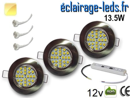 Kit Spot MR16 fixe chrome 21 LED Blanc chaud perçage 60mm 12V