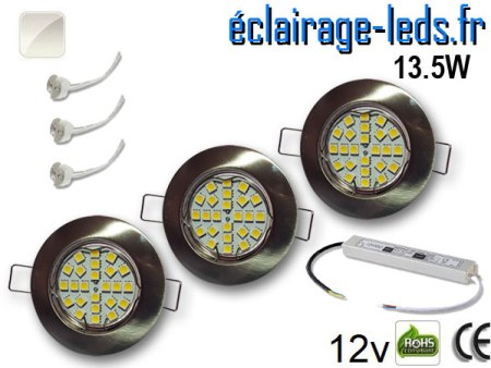 Kit Spot MR16 fixe chrome 21 LED Blanc naturel perçage 60mm 12V