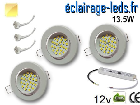 kit Spot MR16 orientable blanc 21 LED blanc chaud perçage 70mm 12V
