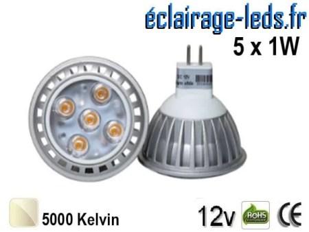 Ampoule LED MR16 5x1W smd blanc naturel 12v