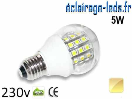 Ampoule LED E27 5W SMD5050 Blanc chaud 230V