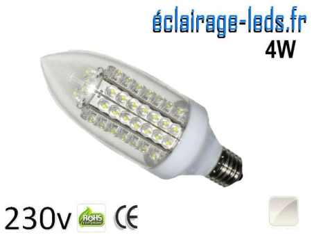 Ampoule LED E27 flamme 4W Blanc naturel 230V