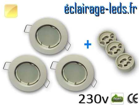 Kit Spots LED GU10 Blanc chaud encastrable fixe blanc perçage 60mm