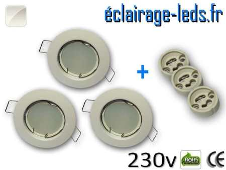 Kit Spots LED GU10 Blanc naturel encastrable fixe blanc perçage 60mm