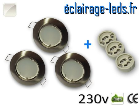Kit Spots LED GU10 Blanc naturel encastrable fixe chrome perçage 60mm