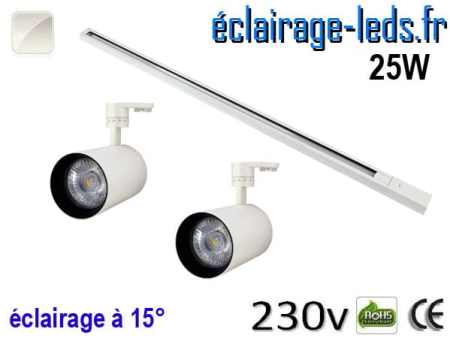 2 Spots LED blanc sur rail 25w 15° blanc naturel 230v