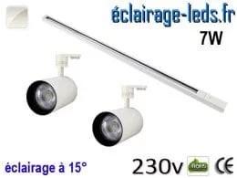 Spots LED blanc sur rail 7w 15° blanc naturel 230v