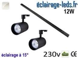 Spots LED noir sur rail 12w 15° blanc naturel 230v