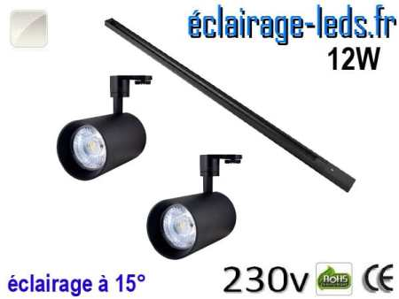 2 Spots LED noir sur rail 12w 15° blanc naturel 230v