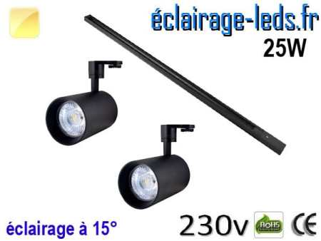 2 Spots LED noir sur rail 25w 15° blanc chaud 230v