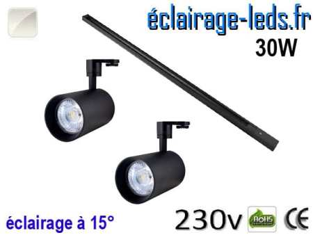 2 Spots LED noir sur rail 30w 15° blanc naturel 230v