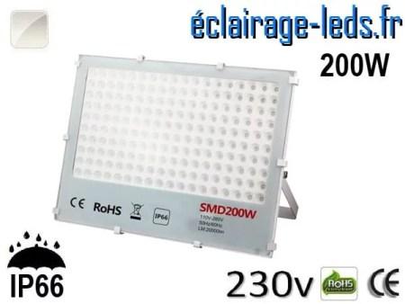 Projecteur LED exterieur Ultra plat 200W IP66 blanc naturel 230v
