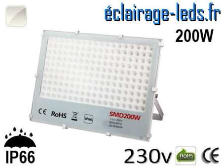 Projecteur LED exterieur Ultra plat 200W IP66 blanc naturel 230v