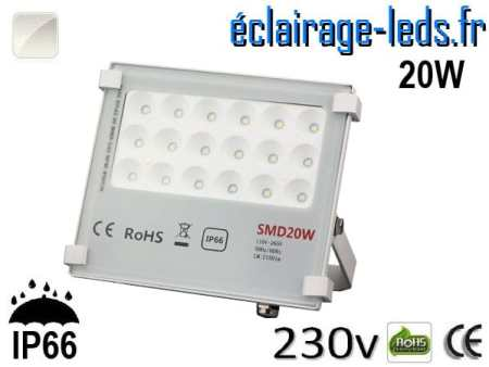 Projecteur LED exterieur Ultra plat 20W IP66 blanc naturel 230v