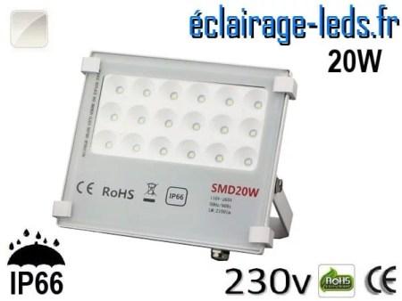 Projecteur LED exterieur Ultra plat 20W IP66 blanc 230v