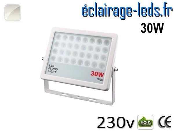 Projecteur LED extérieur plat 30W IP65 blanc naturel 230v