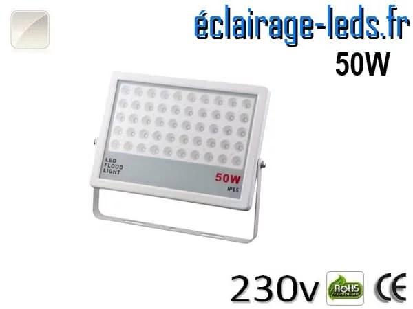 Projecteur LED extérieur plat 50W IP65 blanc naturel 230v