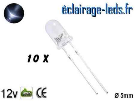 Lot de 10 LEDs blanches 14000 mcd 15°