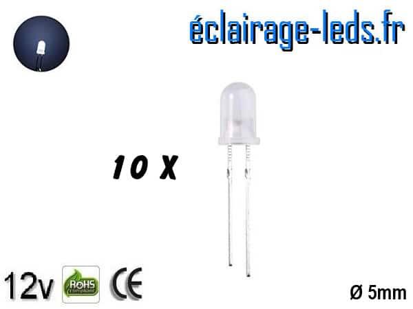 Lot de 10 LEDs blanches diffusante 5000 mcd 15°