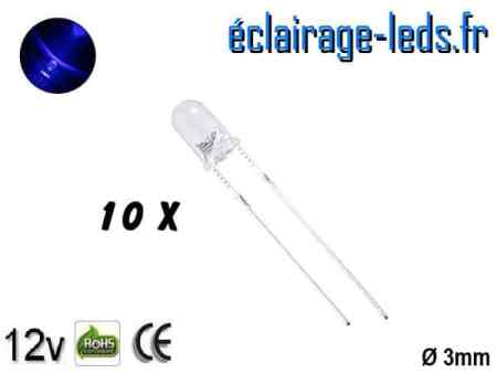 Lot de 10 LEDs bleues 3500 mcd 470 nm 30°