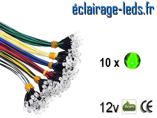 Lot de 10 LEDS vertes câblées 12v DC
