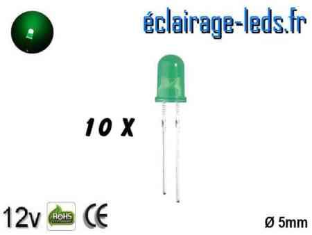 Lot de 10 LEDs vertes diffusante 5000 mcd 525 nm 30°