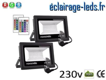 2 Spots LED 60W RGB extérieur 230v