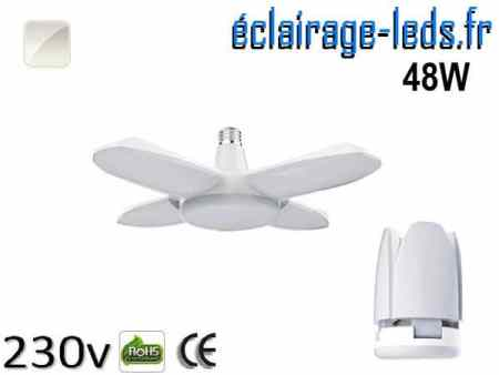 Ampoule led E27 plafonnier 48w COB blanc 6500K 230v AC ref f001-1